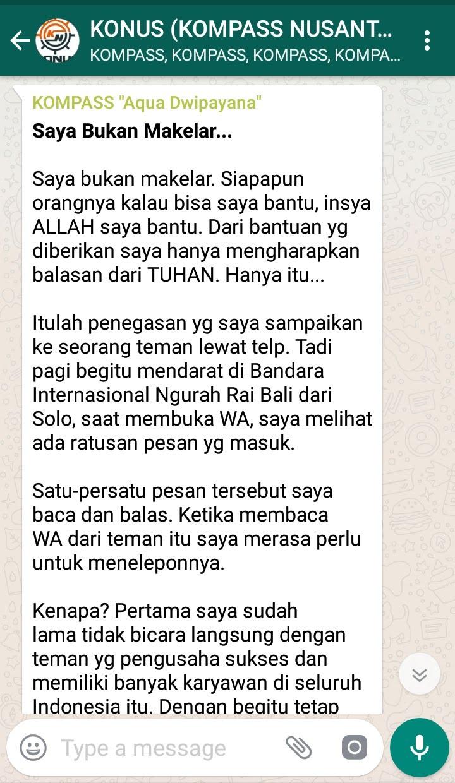 Penyampaian Aqua Dwipayana Pakar KOMUNIKASI Indonesia 20 September 2018 melalui WAG KOMPASS Nusantara