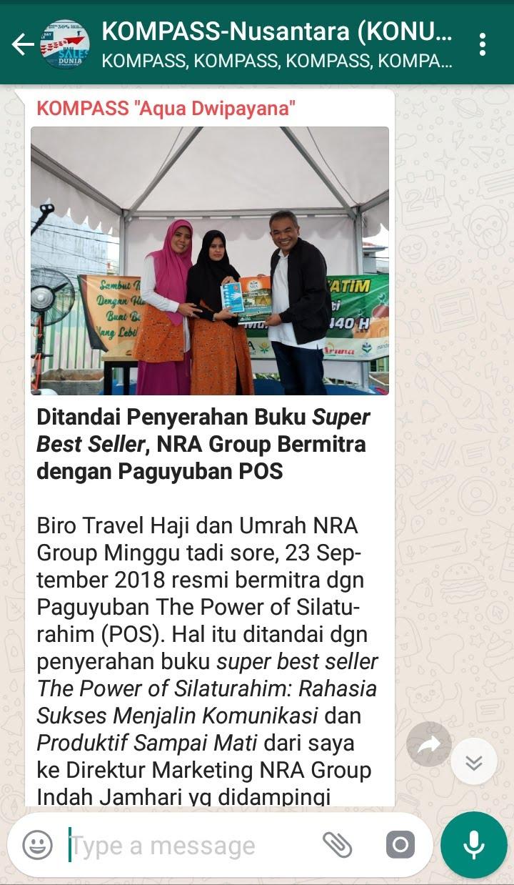 Penyampaian Aqua Dwipayana Pakar KOMUNIKASI Indonesia 23 September melalui WAG KOMPASS Nusantara