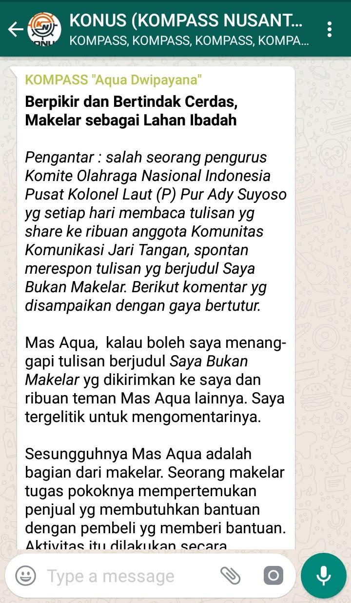 Penyampaian Aqua Dwipayana Tokoh SILATURAHIM Indonesia 30 September 2018 melalui WAG KOMPASS Nusantara