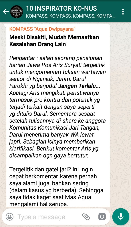 Penyampaian Aqua Dwipayana Tokoh SILATURAHIM Indonesia 9 September 2018 melalui WAG KOMPASS Nusantara