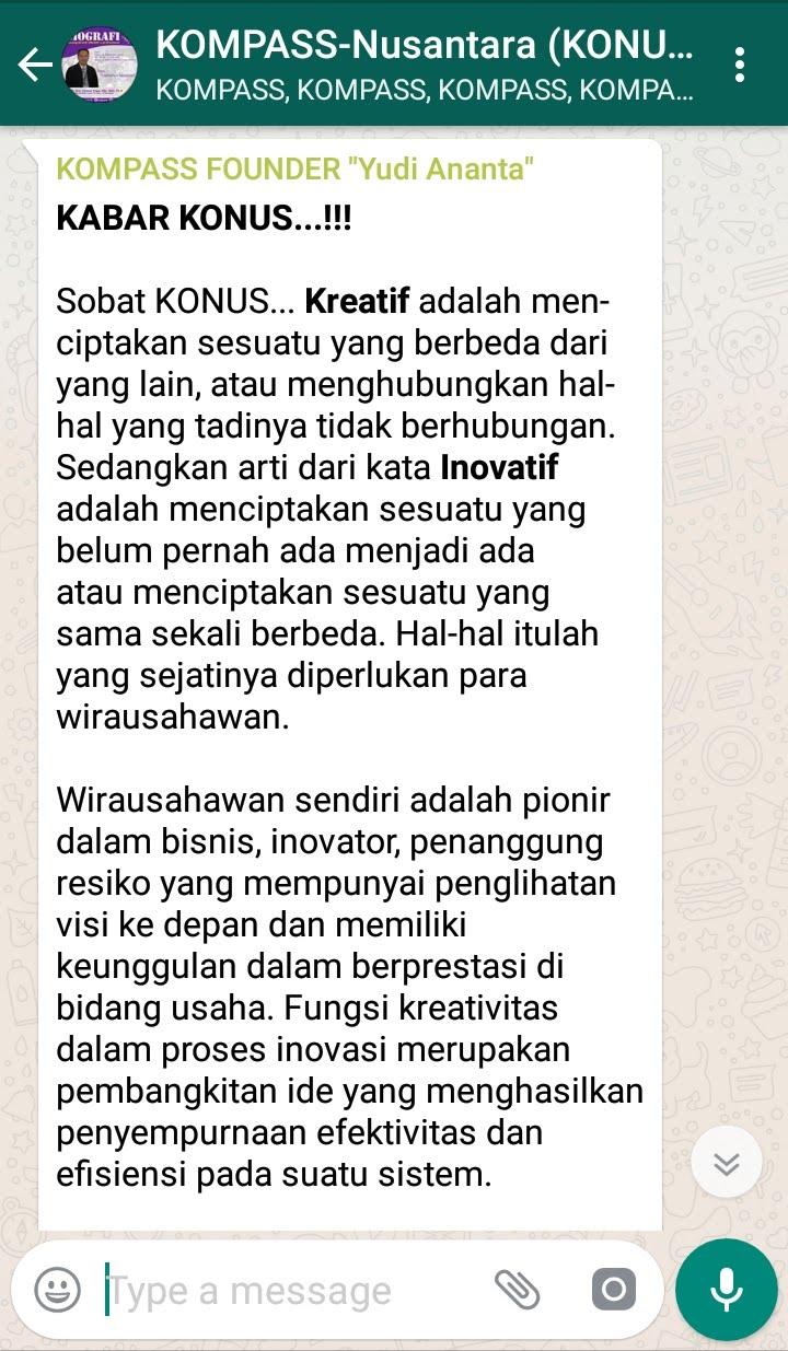 Penyampaian Program Biografi KOMPASS Nusantara 26 September 2018 oleh Founder Yudi Ananta