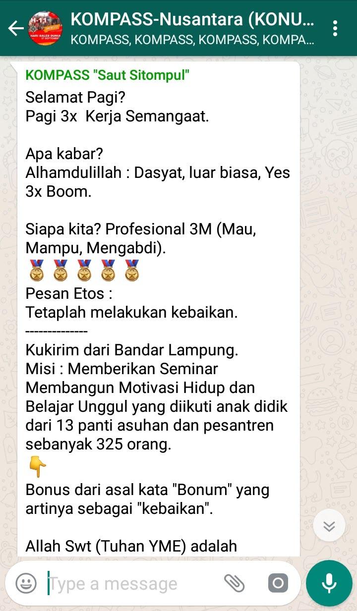 Penyampaian Saut Sitompul Guru ETOS Indonesia 16 September 2018 melalui WAG KOMPASS Nusantara