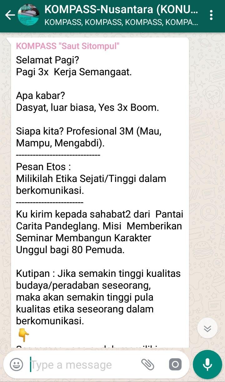 Penyampaian Saut Sitompul Pakar ETOS KERJA Indonesia 15 September 2018 melalui WAG KOMPASS Nusantara