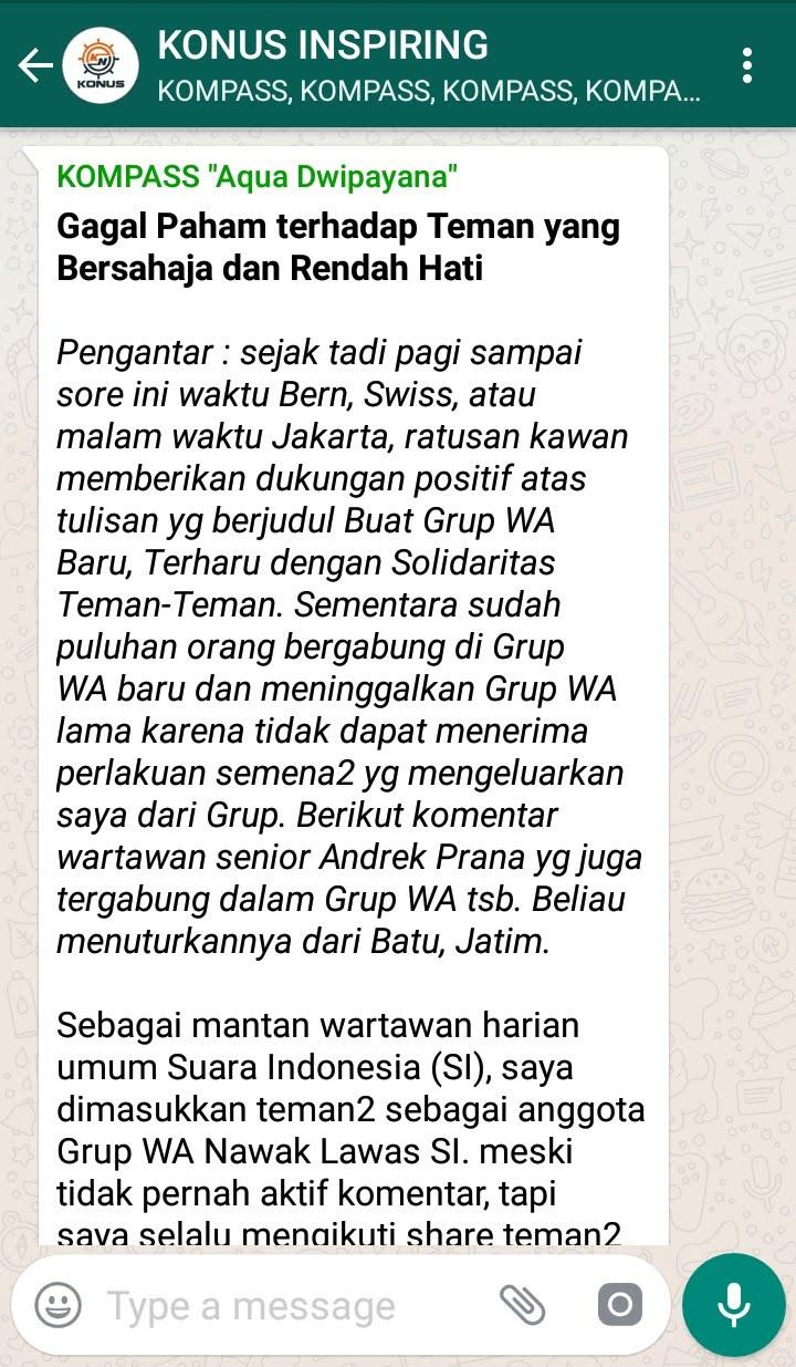 Penyampaian Aqua Dwipayana Pakar KOMUNIKASI Indonesia 21 Oktober 2018 melalui WAG KONUS
