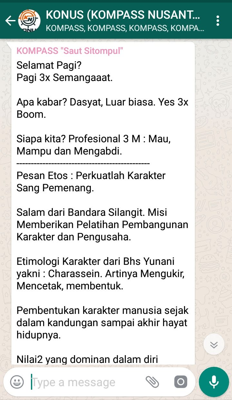Penyampaian Saut Sitompul Guru ETOS Indonesia 20 Oktober 2018 melalui WAG KOMPASS Nusantara