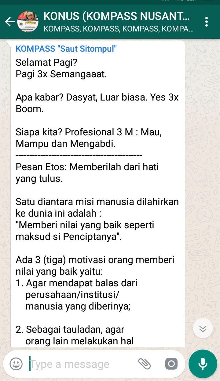 Penyampaian Saut Sitompul Guru ETOS Indonesia 29 Oktober 2018 melalui WAG KOMPASS Nusantara