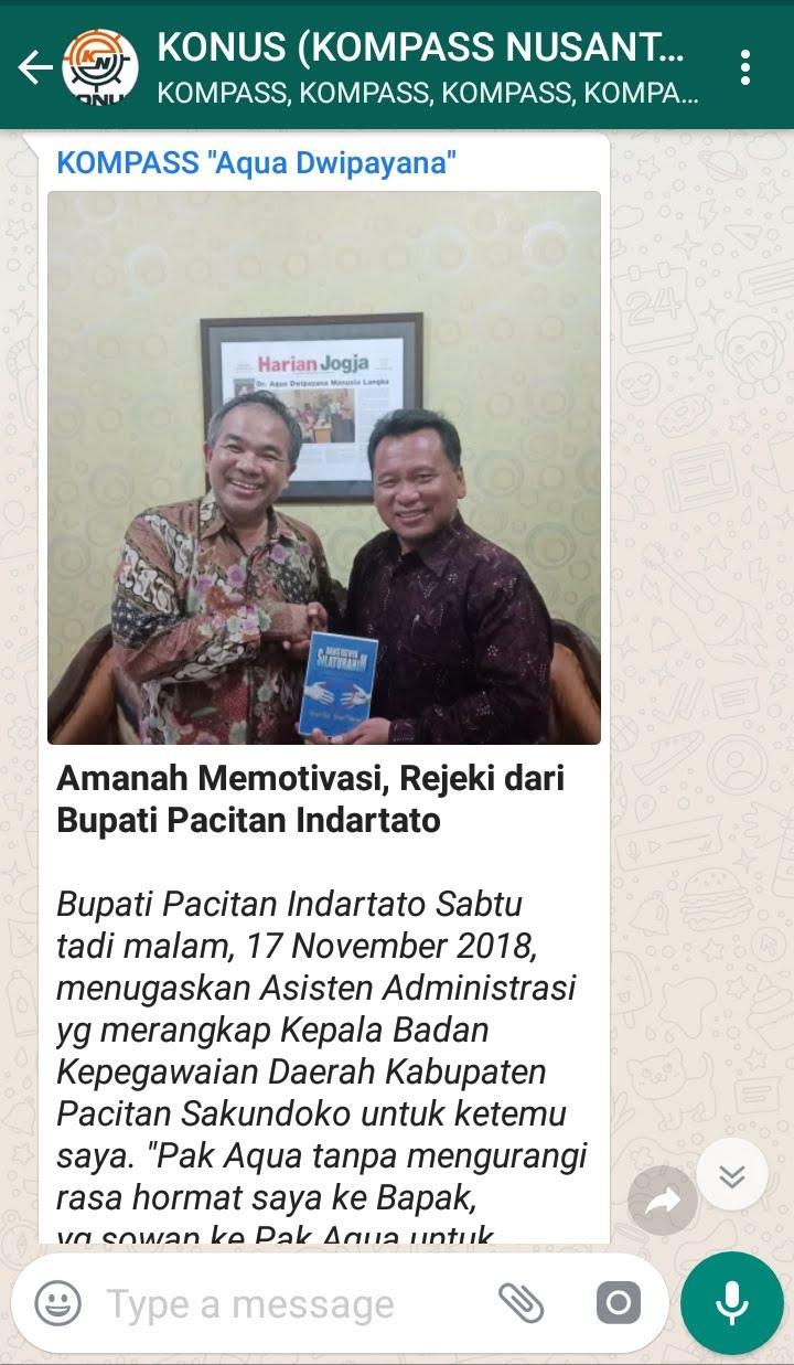 Penyampaian Aqua Dwipayana Pakar KOMUNIKASI Indonesia melalui WAG KOMPASS Nusantara