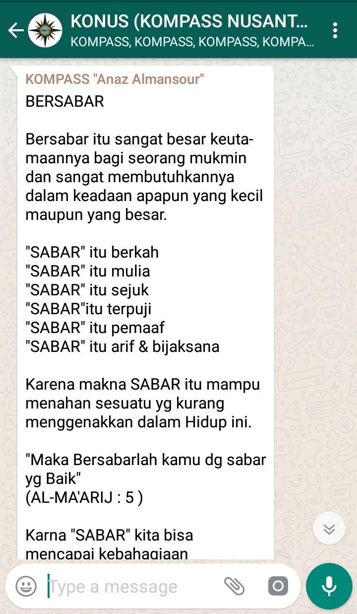 Penyampaian Anaz Almansour Pakar KEPRIBADIAN Indonesia 23 Desember 2018 melalui WAG KOMPASS Nusantara
