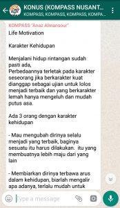 Penyampaian Anaz Almansour Pakar KEPRIBADIAN Indonesia 28 Desember 2018 melalui WAG KOMPASS Nusantara