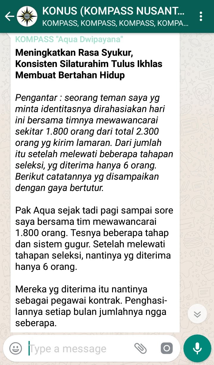 Penyampaian Aqua Dwipayana Pakar KOMUNIKASI Indonesia 23 Desember 2018 melalui WAG KOMPASS Nusantara