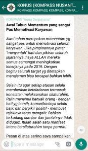 Penyampaian Aqua Dwipayana Pakar KOMUNIKASI Indonesia 25 Desember 2018 melalui WAG KOMPASS Nusantara