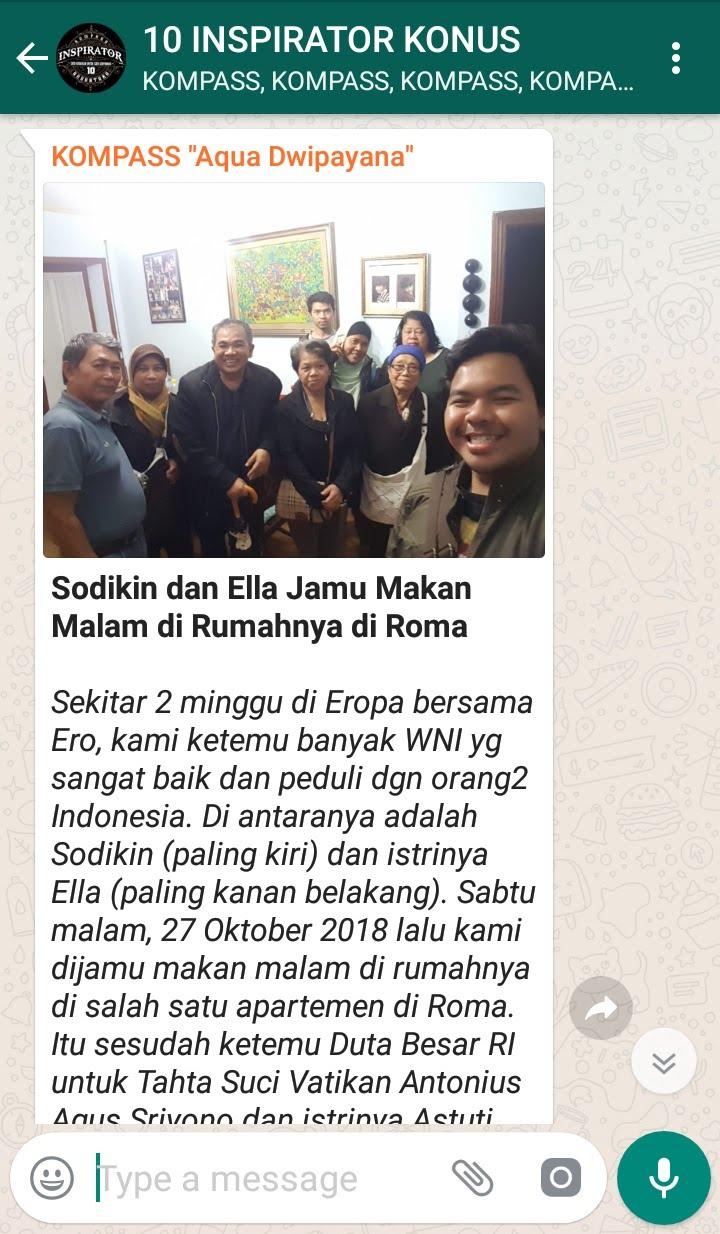 Penyampaian Aqua Dwipayana Pakar KOMUNIKASI Indonesia 3 Desember 2018 melalui WAG KOMPASS Nusantara