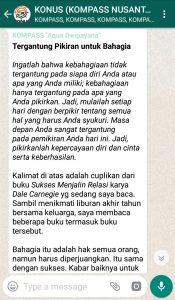 Penyampaian Aqua Dwipayana Pakar KOMUNIKASI Indonesia 30 Desember 2018 melalui WAG KOMPASS Nusantara