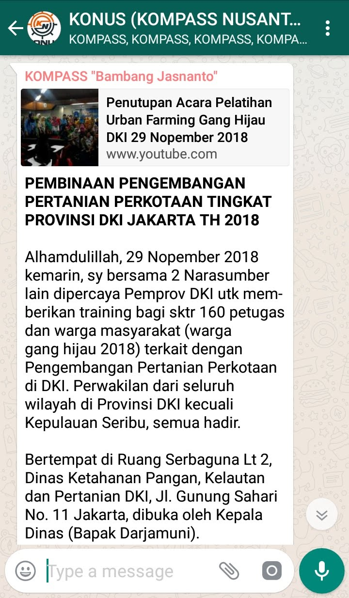 Penyampaian Bambang Jasnanto Pakar HIDROPONIK Indonesia 1 Desember 2018 melalui WAG KOMPASS Nusantara