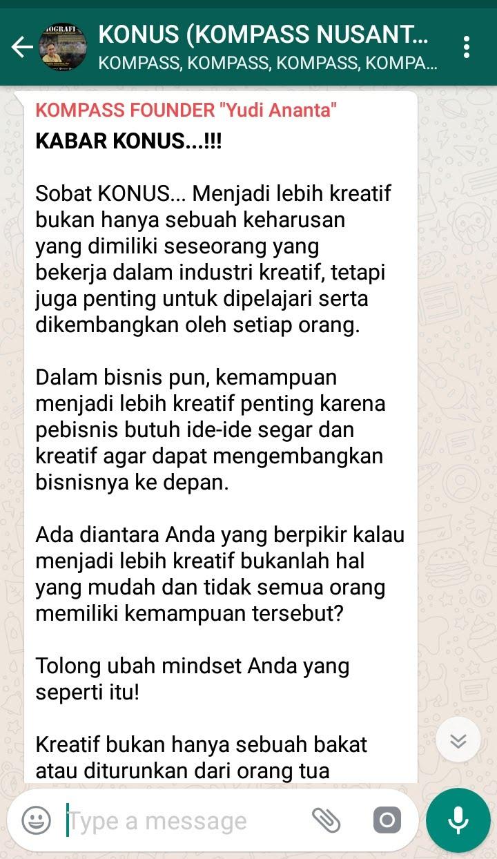 Penyampaian Program Biografi KOMPASS Nusantara 12 Desember 2018 oleh Founder Yudi Ananta