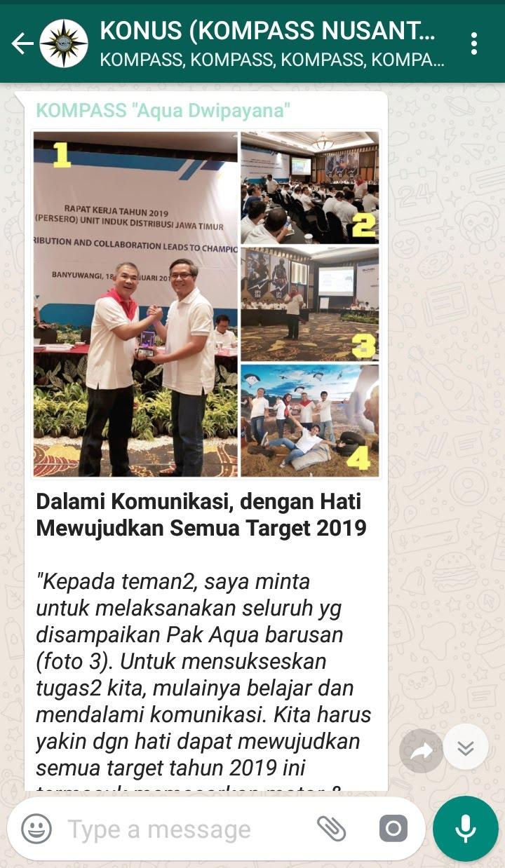 Penyampaian Aqua Dwipayana Pakar Komunikasi Indonesia 20 Januari 2019 melalui WAG KOMPASS Nusantara