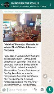 Penyampaian Aqua Dwipayana Pakar Silaturahim Indonesia 10 Januari 2019 melalui WAG KOMPASS Nusantara