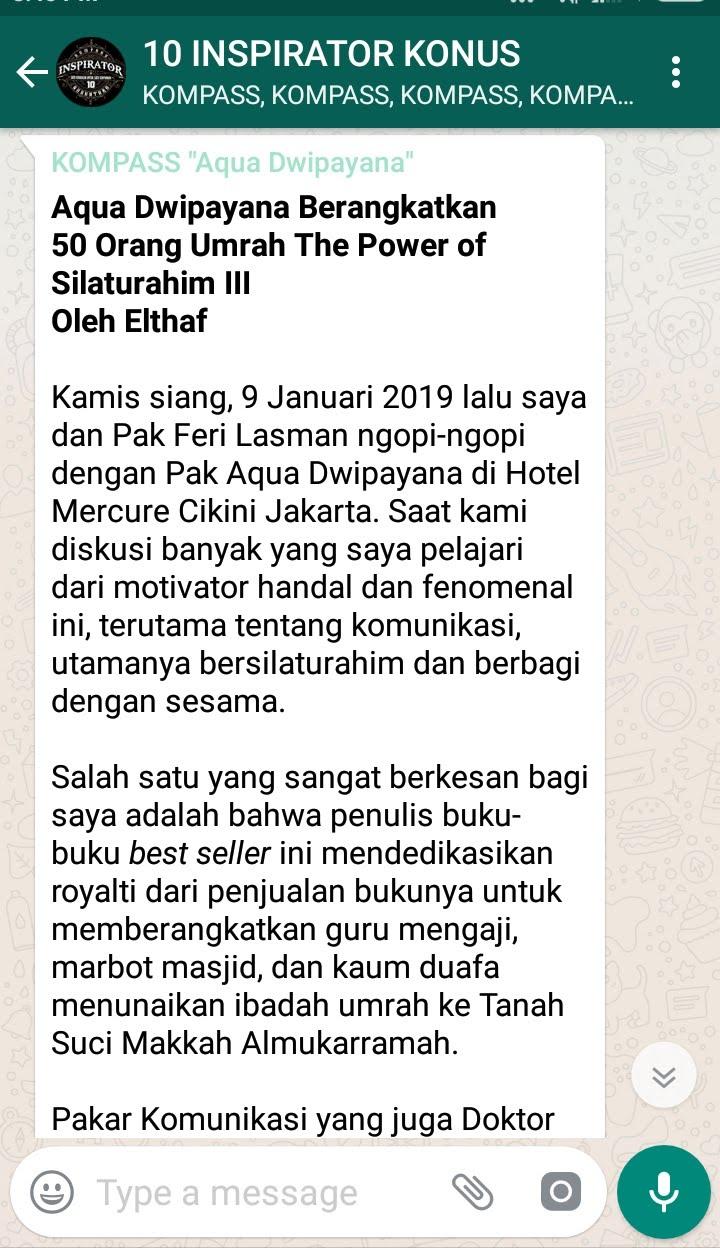 Penyampaian Aqua Dwipayana Pakar Silaturahim Indonesia 12 Januari 2019 melalui WAG KOMPASS Nusantara