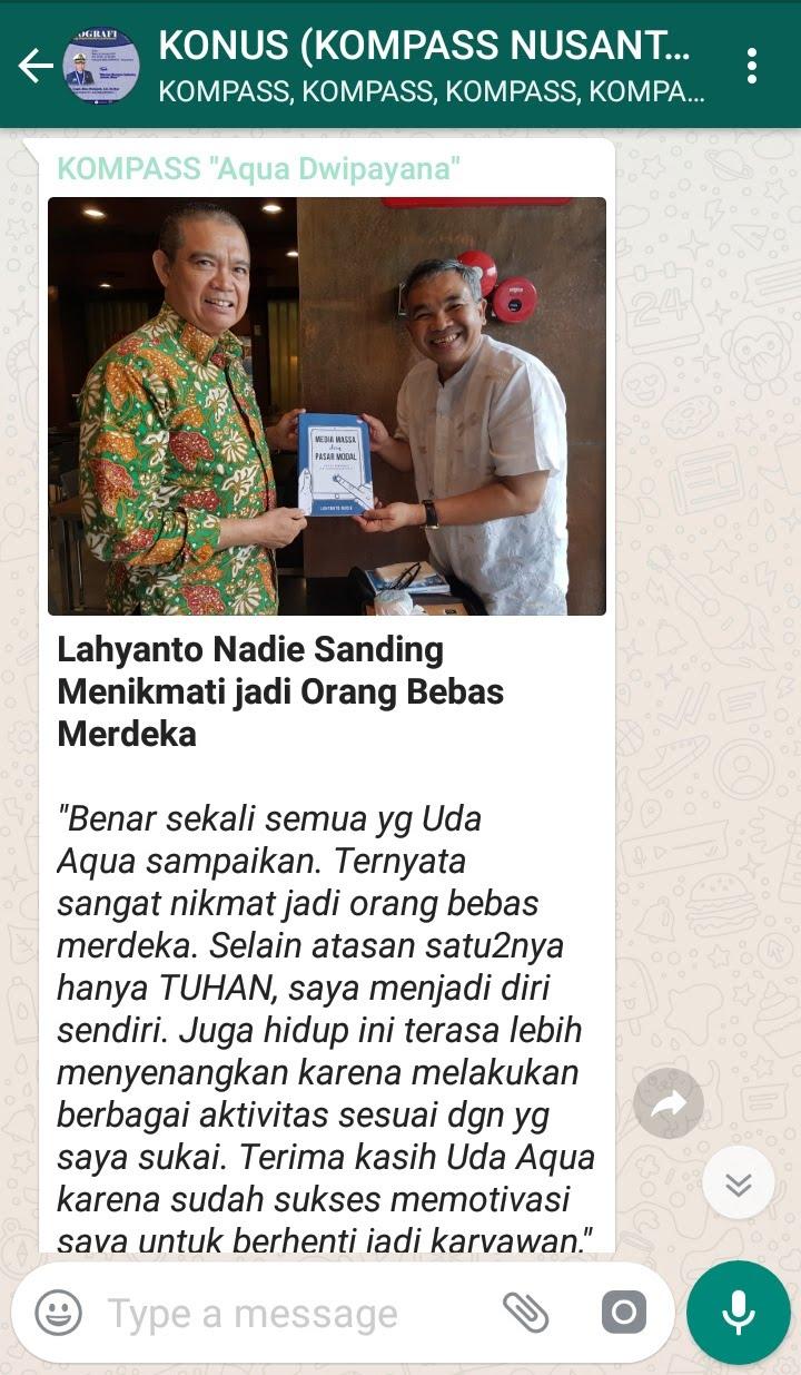 Penyampaian Aqua Dwipayana Pakar Silaturahim Indonesia 14 Januari 2019 melalui WAG KOMPASS Nusantara