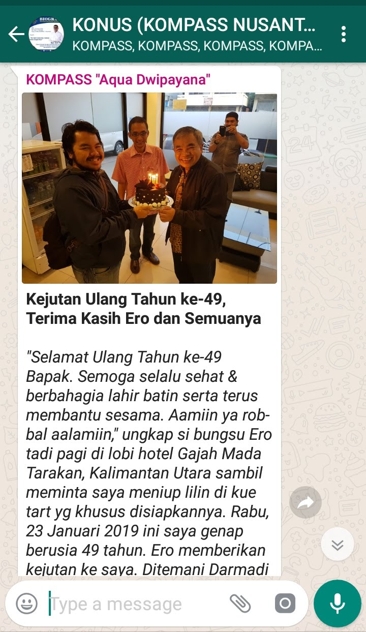 Penyampaian Aqua Dwipayana Pakar Silaturahim Indonesia 23 Januari 2019 melalui WAG KOMPASS Nusantara
