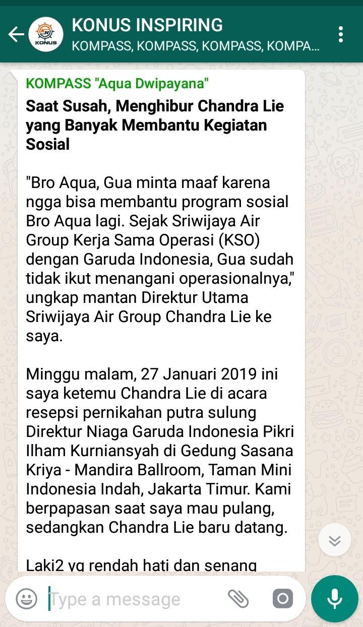 Penyampaian Aqua Dwipayana Pakar Silaturahim Indonesia 27 Januari 2019 melalui WAG KOMPASS Nusantara