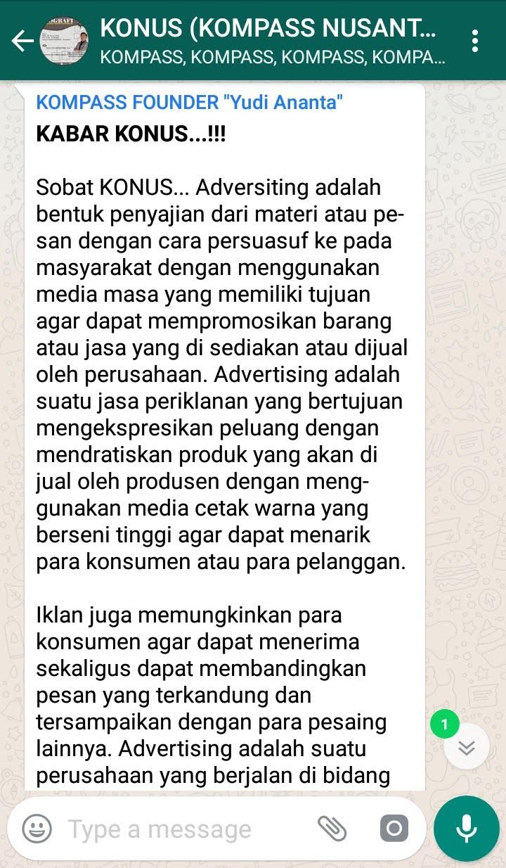 Penyampaian Program Biografi KOMPASS Nusantara 30 Januari 2019 oleh Founder Yudi Ananta