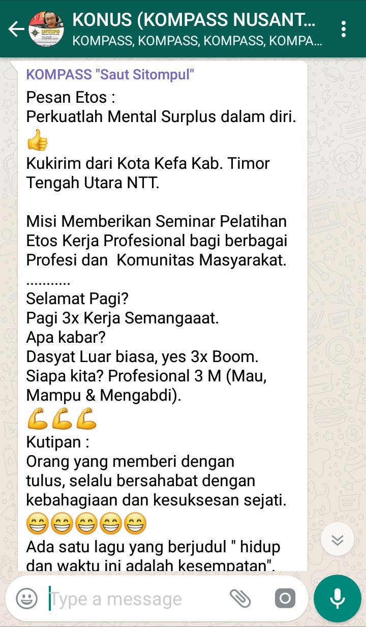 Penyampaian Saut Sitompul Pakar Etos Kerja Indonesia 17 Januari 2019 melalui WAG KOMPASS Nusantara
