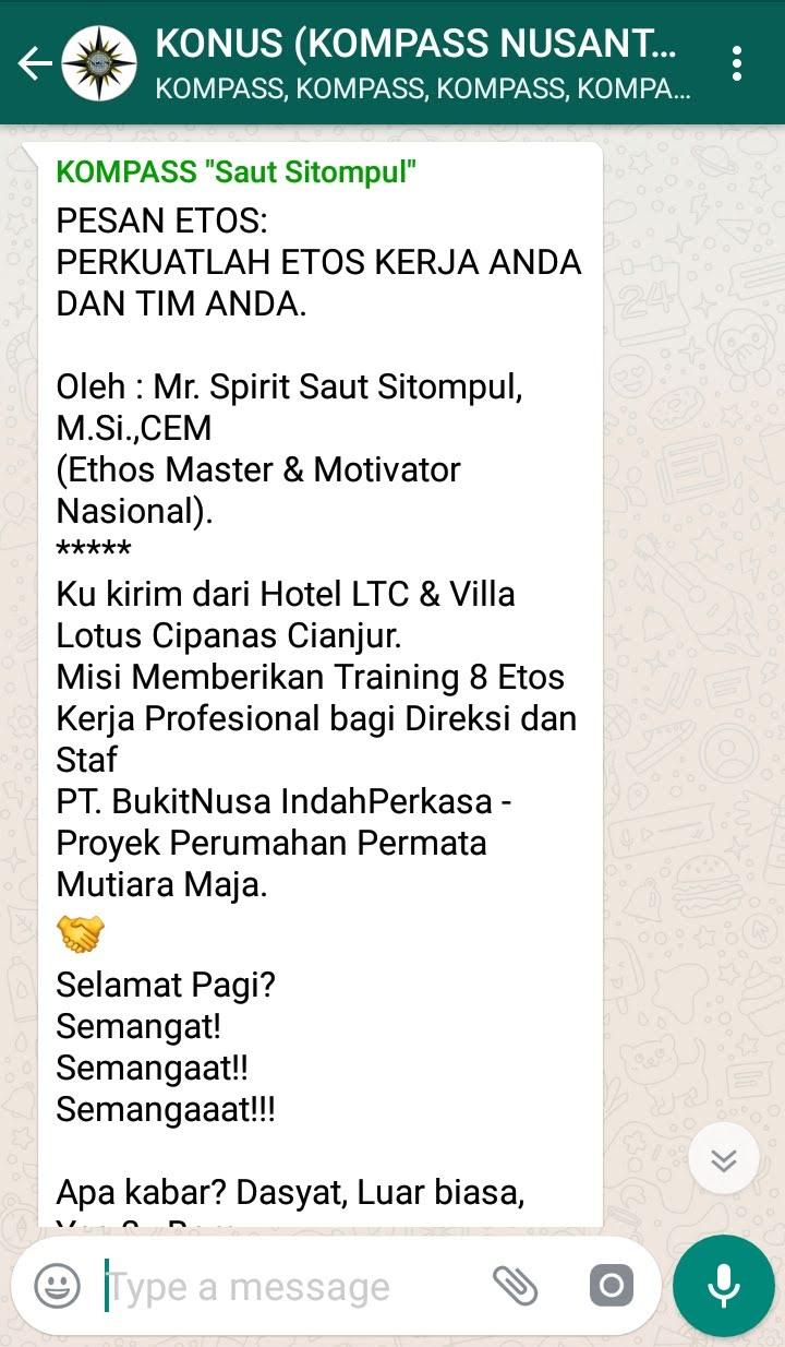 Penyampaian Saut Sitompul Pakar Etos Kerja Indonesia 26 Januari 2019 melalui WAG KOMPASS Nusantara