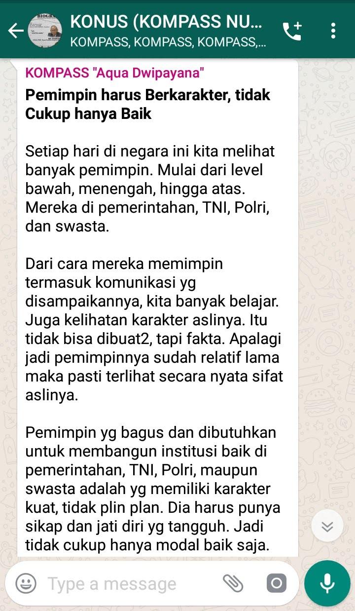 Penyampaian Aqua Dwipayana Guru Silaturahim Indonesia 5 Februari 2019 melalui WAG KOMPASS Nusantara