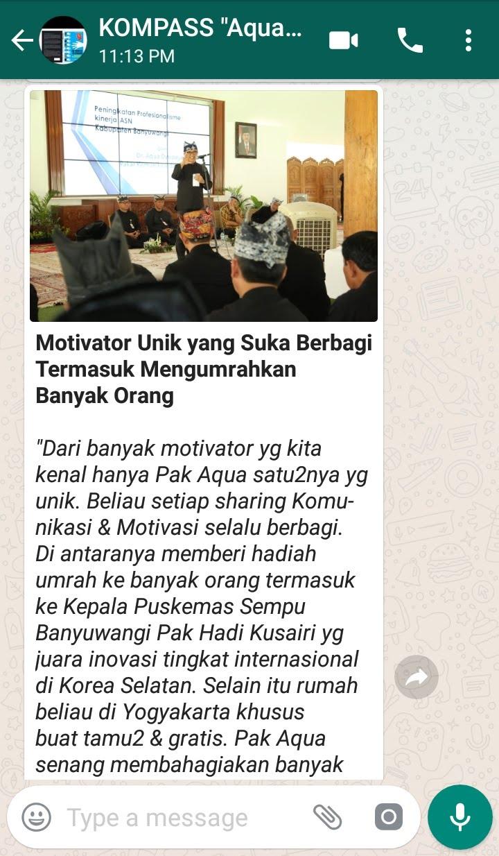 Penyampaian Aqua Dwipayana Pakar Silaturahim Indonesia 24 Februari 2019 melalui WAG KOMPASS Nusantara