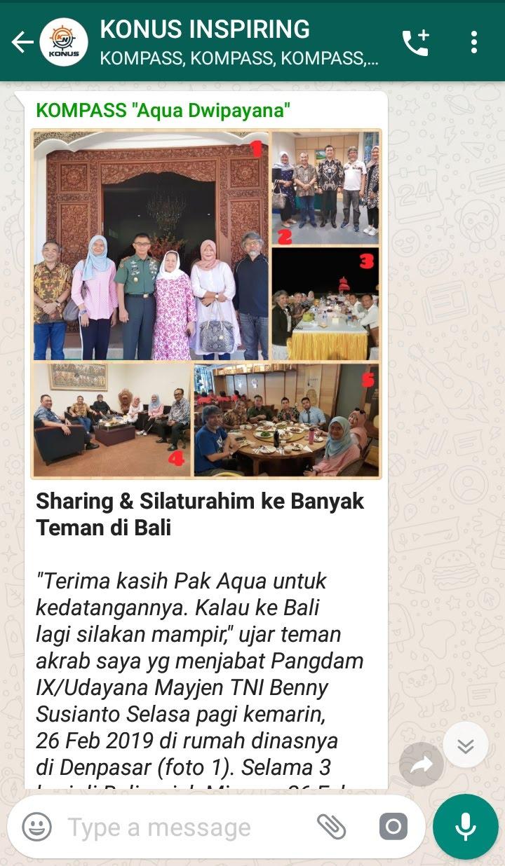 Penyampaian Aqua Dwipayana Pakar Silaturahim Indonesia 27 Februari 2019 melalui WAG KOMPASS Nusantara