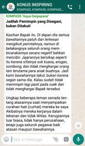 Penyampaian Aqua Dwipayana The Power of Silaturahim 6 Februari 2019 melalui WAG KOMPASS Nusantara