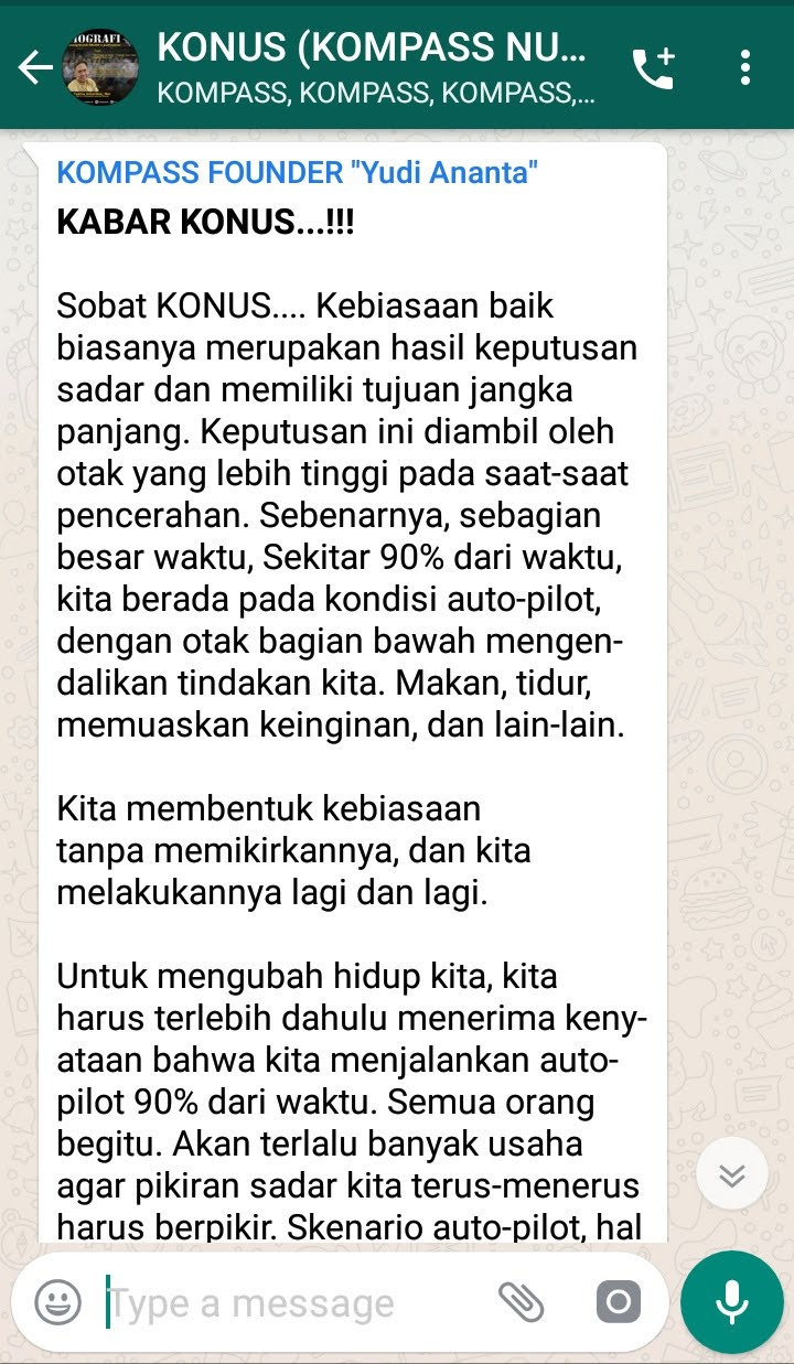 Penyampaian Program Biografi KOMPASS Nusantara 13 Februari 2019 oleh Founder Yudi Ananta