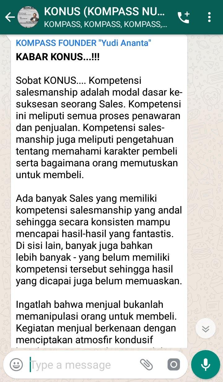 Penyampaian Program Biografi KOMPASS Nusantara 20 Februari 2019 oleh Founder Yudi Ananta