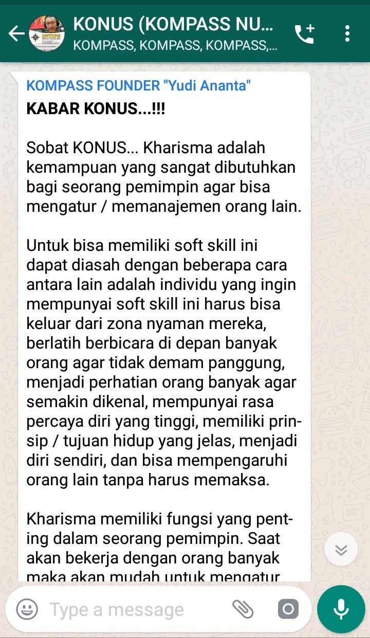 Penyampaian Program INTIPS KOMPASS Nusantara 21 Februari 2019 oleh Founder Yudi Ananta