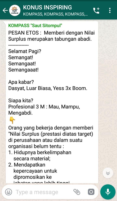 Penyampaian Saut Sitompul Guru Etos Indonesia 20 Februari 2019 melalui WAG KOMPASS Nusantara