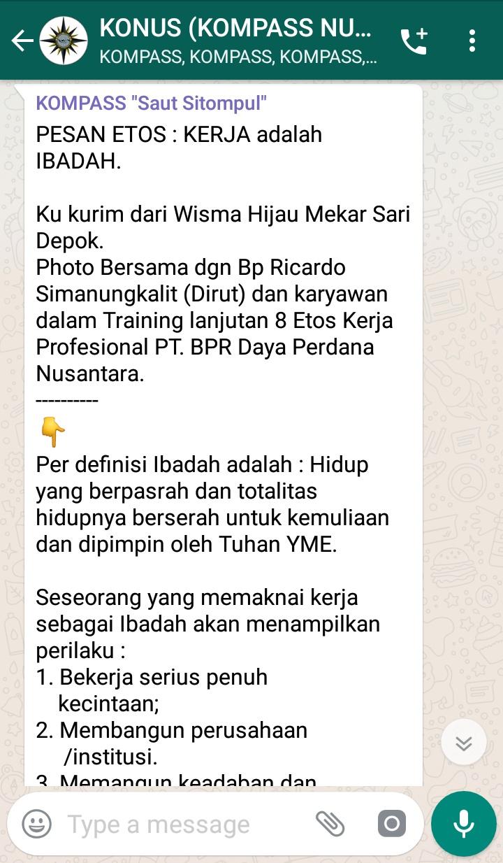 Penyampaian Saut Sitompul Pakar Etos Kerja Indonesia 16 Februari 2019 melalui WAG KOMPASS Nusantara