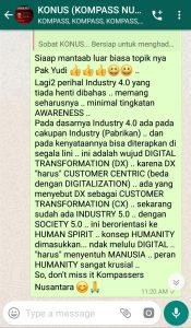 Komentar Muhammad Idham Azhari KONUS Digital Startup 19 Maret 2019 melalui WAG KOMPASS Nusantara