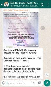 Penyampaian Anaz Almansour Master Rezeki Healing 17 Maret 2019 melalui WAG KOMPASS Nusantara