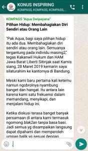 Penyampaian Aqua Dwipayana Guru Silaturahim Indonesia 29 Maret 2019 melalui WAG KOMPASS Nusantara