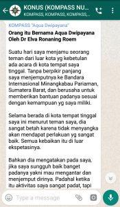 Penyampaian Aqua Dwipayana Pakar Silaturahim Indonesia 24 Maret 2019 melalui WAG KOMPASS Nusantara