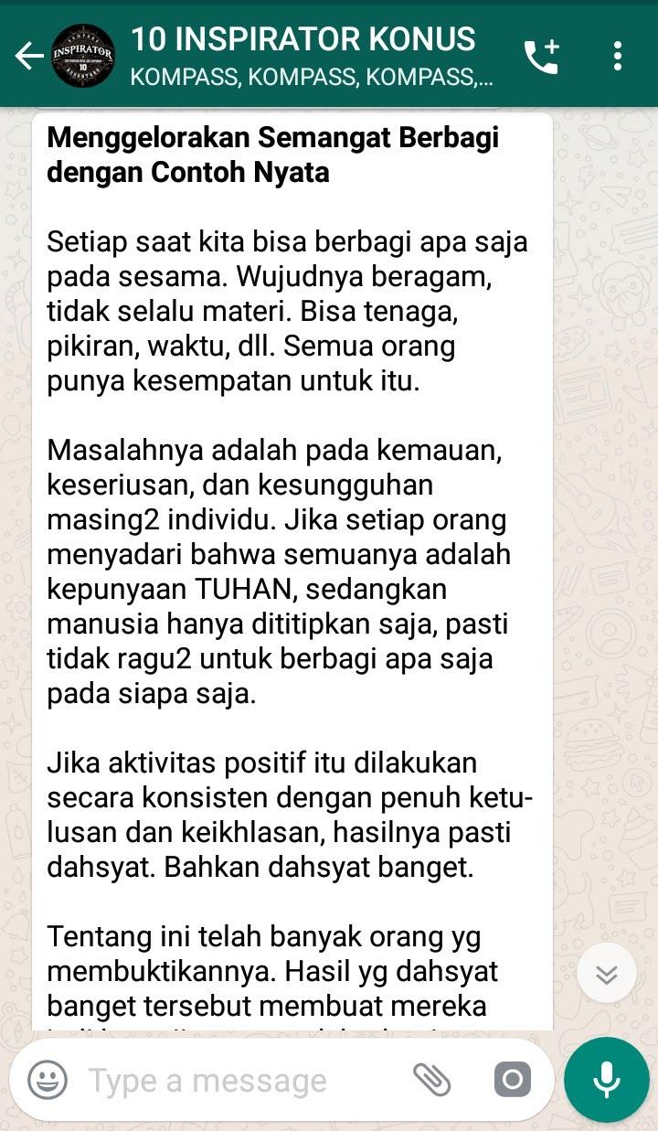 Penyampaian Aqua Dwipayana Pakar Silaturahim Indonesia 4 Maret 2019 melalui WAG KOMPASS Nusantara