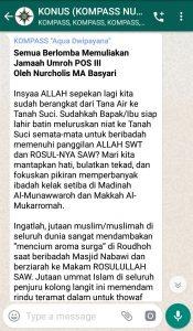 Penyampaian Aqua Dwipayana The Power of SILATURAHIM 30 Maret 2019 melalui WAG KOMPASS Nusantara