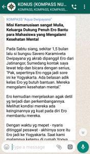 Penyampaian Aqua Dwipayana Tokoh Silaturahim Indonesia 31 Maret 2019 melalui WAG KOMPASS Nusantara