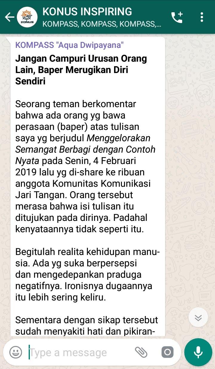 Penyampaian DR Aqua Dwipayana Pakar Silaturahim Indonesia melalui WAG KOMPASS Nusantara
