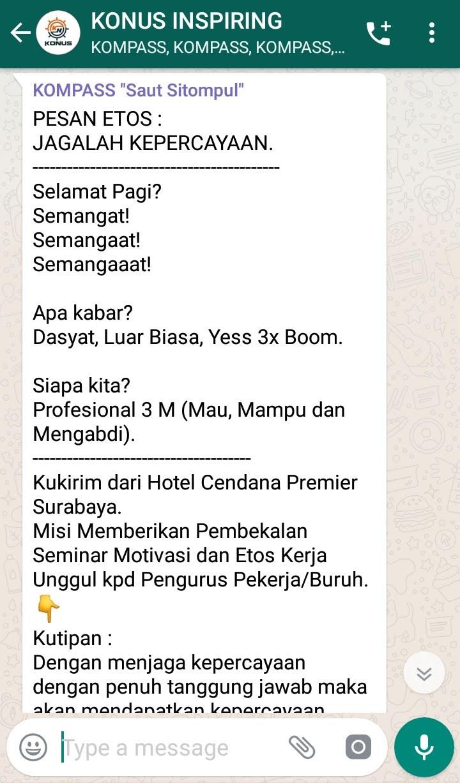 Penyampaian Saut Sitompul Pakar Etos Kerja Indonesia 12 Maret 2019 melalui WAG KOMPASS Nusantara