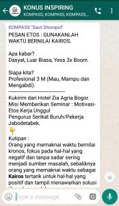 Penyampaian Saut Sitompul Pakar Etos Kerja Indonesia 18 Maret 2019 melalui WAG KOMPASS Nusantara