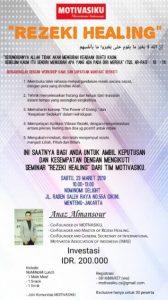 Seminar MOTIVASIKU Rezeki Healing hadir di Jakarta