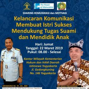 Sharing Komunikasi dan Motivasi Aqua Dwipayana, Pagi di Yogyakarta, Sore di Palembang