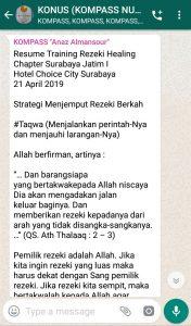 Penyampaian Anaz Almansour Master Rezeki Healing 22 April 2019 melalui WAG KOMPASS Nusantara